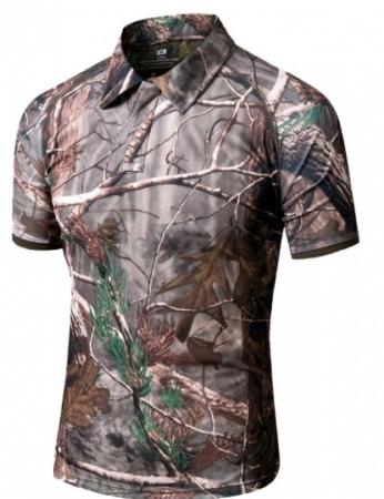 Orman Desenli Yakalı Tişört